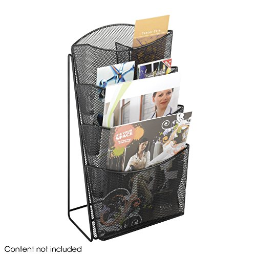 Safco Products 5640BL Onyx Mesh Magazine Rack Display Stand, 4 Pocket, Black - Onyx Mesh Magazine Rack