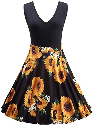 Pinup Halloween (Jiuzhoudeal Women's Vintage Sleeveless Flare Floral Contrast Swing Casual Party Mini Dress (Large, Black- Mum Flower))