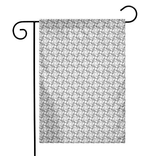(duommhome Geometric Garden Flag Minimalist Pattern with Intersecting Squares Grayscale Lattice Mosaic Decorative Flags for Garden Yard Lawn W12 x L18 Black Pale Grey White)