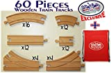 Mattys Toy Stop 60 Piece Wooden Train Track Set with Storage Bag