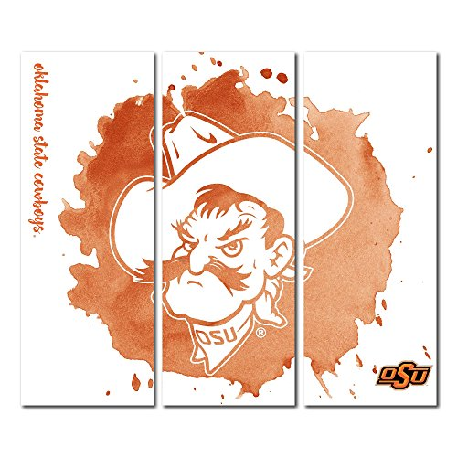 Oklahoma State University Cowboys Canvas Wall Art Triptych Watercolor Design