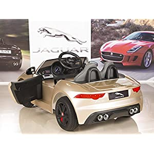 Jaguar-F-TYPE-12V-Kids-Ride-On-Battery-Powered-Wheels-Car-with-24GHz-RC-Remote-Champagne