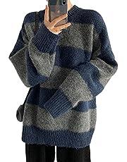 YEMOCILE Randig tröja för kvinnor stickad tröja långärmad vintage pullover överdimensionerad jumper toppar