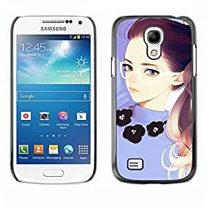 All Phone Most Case / Hard PC Metal piece Shell Slim Cover Protective Case Carcasa Funda Caso de protección para Samsung Galaxy S4 Mini i9190 MINI VERSION! Girl Redhead Glasses Purple Smart