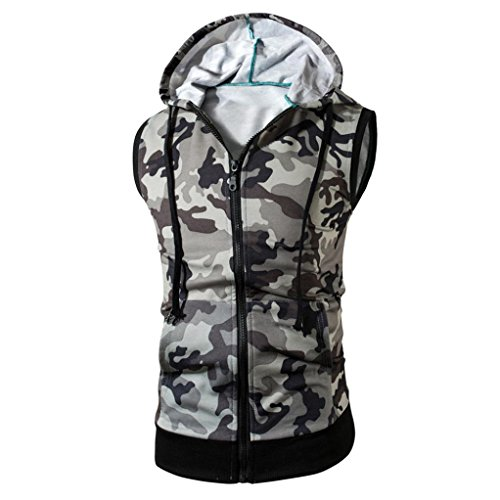 Anshinto Camouflage Men Hoodie Vest Sleeveless T-shirt Tee Shirt Casual Tank Tops (XL, GRAY) (Camouflage Vest)