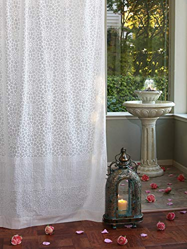 (Saffron Marigold Royal Mansour Sheer White Curtains 46 x 84 | Hand Printed | 100% Cotton Voile | Curtain Panels Similar to Lace, Tulle, Embroidered Window Treatments | Drapes for Living Room or Bedroo)