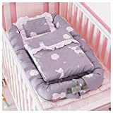 Demon Eight Baby Crib Mattress,Soft Comfortable Portable Baby Crib Bed For Co Sleeping Set 3 In 1,Fit For Newborn 0-24 Month (gray)