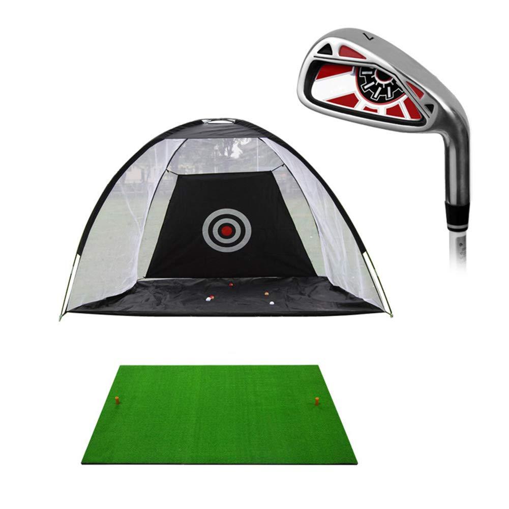 パッティングマット ドライビングマット、練習ネットとボール、ポータブル折りたたみヒット練習屋内/屋外で軽量ゴルフトレーニングセット (色 : 黒)  黒 B07L88SF16