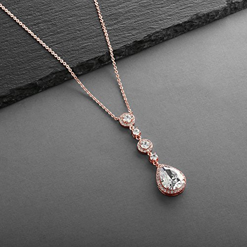 Mariell Genuine 14K Rose Gold Plated Blush Bridal Necklace Y-Style Pendant with Cubic Zirconia Teardrop by Mariell (Image #5)