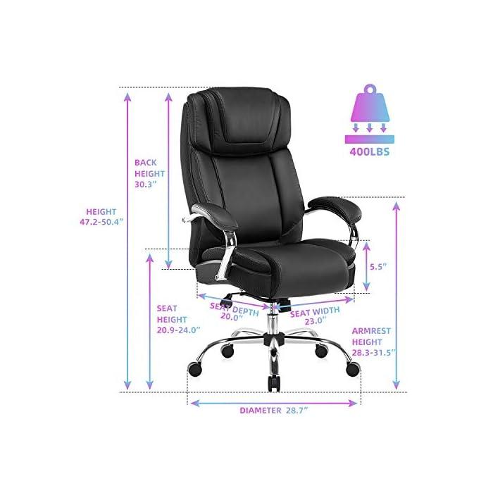 511aRddj%2BgL Haz clic aquí para comprobar si este producto es compatible con tu modelo Silla de oficina de piel regenerada: la silla ejecutiva grande y alta de Yamasoro fue diseñada para tu comodidad. La silla tiene acolchado suave y grueso y borde del asiento en cascada para menos presión en la parte posterior de tus piernas para que puedas mantenerte cómodo incluso cuando tengas que sentarte durante horas Comodidad para tu productividad: diseño ergonómico de silla de oficina con cojines de doble capa para sillas. Asiento de resorte de bolsillo de alta elasticidad. Cojín de silla de escritorio 30 ~ 50% más grueso que el asiento normal. Una silla de oficina y respaldo con reposacabezas contorneado grueso. Comodidad continua para largas horas de juego o trabajo. Mayor densidad, mejor elasticidad, mayor resistencia. Combinación perfecta para tu mesa de juego y escritorios de ordenador