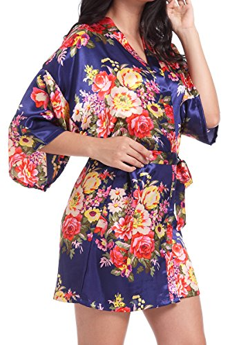 DF-deals Women's Satin Floral Robes for Bride and Bridesmaid Wedding Party Kimono Silk Robes Nursing Gown Short (XXX-Large/US 16-18, Navy Blue)
