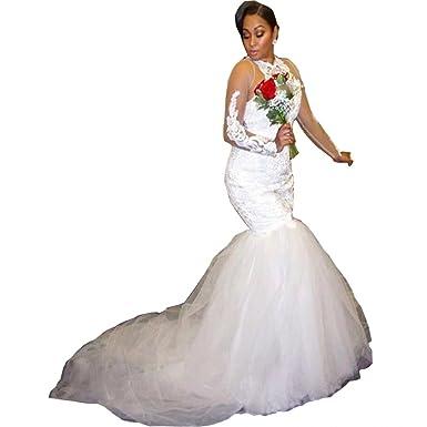 DingDingMail Plus Size Mermaid Wedding Dresses with Lace Appliques ...