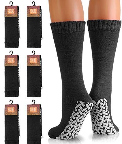 12n Acrylic - 6 Black Non-Skid No Slip Hospital Tube Socks for Adults,SIZE:10-13