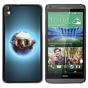PC/Aluminum Funda Carcasa protectora para HTC DESIRE 816 Skull Ecological Catastrophe Earth Consumption / JUSTGO PHONE PROTECTOR