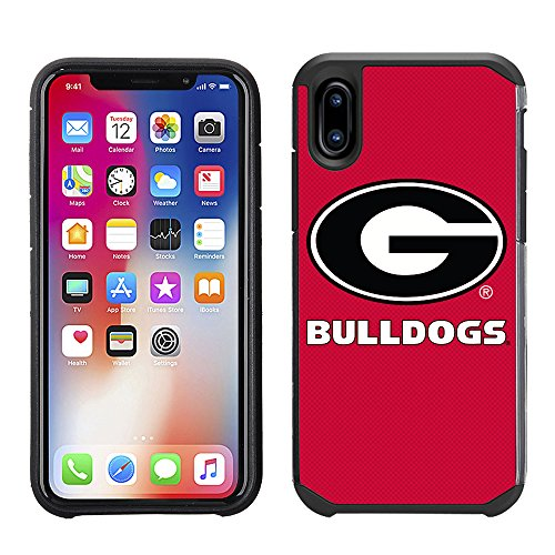 Georgia University Ncaa Bulldogs (Prime Brands Group Textured Team Color Cell Phone Case for Apple iPhone X - NCAA Licensed University of Georgia Bulldogs)