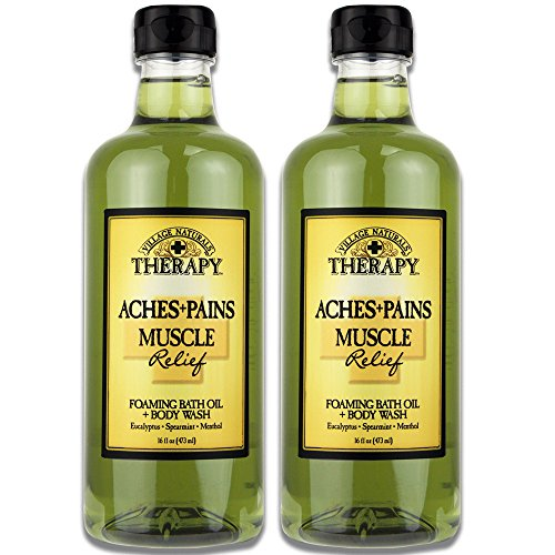 Village Naturals Aches and Pains Muscle Relief Foaming Bath Oil and Body Wash 16 oz. 2 pack Aromatherapeutic Mineral Bath