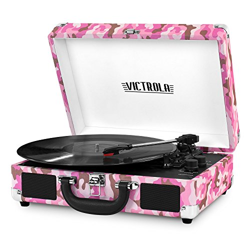 Victrola Vintage 3-Speed Bluetooth Suitcase Turntable with Speakers, Pink Camo
