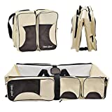 Crib with Changing Table on Left Hans&Alice 3 in 1 Portable Baby Travel Bed Diaper Bag, Travel Bassinet, Baby Change Station, Cream