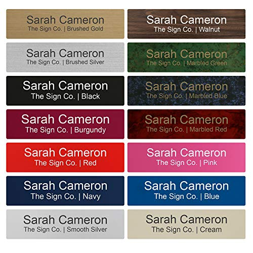 Personalized Name Plate Sign - 2x8 - Engraved - 24 Color Options - Rounded Corners - Customize (Desk Custom Corner)