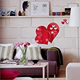 LiPing 3D Mirror Love Hearts Wall Stickers-Removable Decal Art Home Decor Painting Supplies Room Decor Kit-Kids Bedroom Decoration (Red)