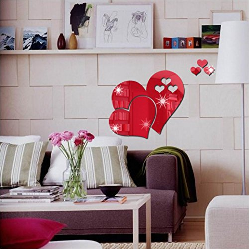 LiPing 3D Mirror Love Hearts Wall Stickers-Removable Decal Art Home Decor Painting Supplies Room Decor Kit-Kids Bedroom Decoration (Red) by LiPing