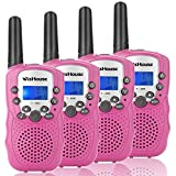 Wishouse Walkie Talkie Kids Toy Set,Best Gifts Easy use Two Way Radios for Girls, 22 Chanels 3 Miles Long Range Cool Vox walky Talky for Camping Hiking Fishing Outdoors(T388 Pink, 2 Pairs)