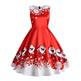 Promotions Christmas Womens Vintage Sleeveless Dresses ODGear Xmas Tree Santa Casual Party Swing Skater Dress