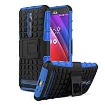 ZenFone 2 5.5 Case - MoKo [Heavy Duty] Rugged Armor with Kickstand Cover - Dual Layer Shock Resistant Case for ASUS ZenFone 2 ZE550ML / ZE551ML 2015 Release 5.5 Inch, BLUE (Not Fit Zenfone 2 Laser)