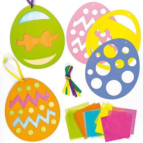 Deko-Anhänger - Osterei - mit Transparentpapier für Kinder zum Basteln zu Ostern (6 Stück)