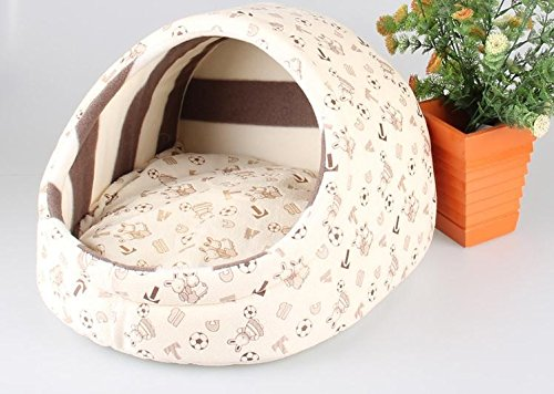 Cute Slipper Design Pet Cat Dog Princess Bed Nest Washable Small Dogs Warm House Kennel Dog Bed (S:353025cm, Beige Bunny Football)
