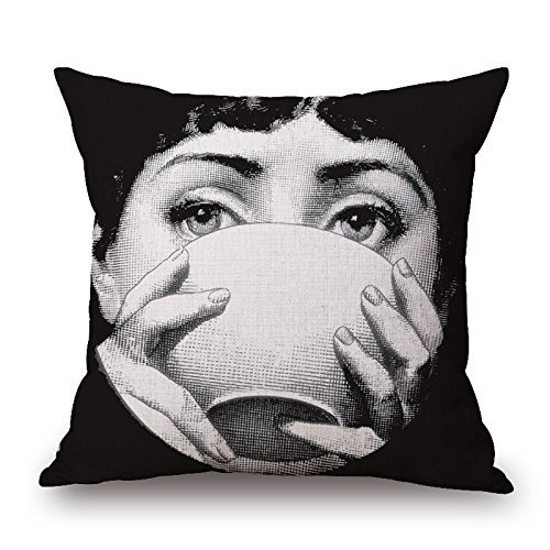 Funny Creative Piero Fornasetti Decoration Pattern Cotton Linen Square Throw Pillow Case Pillow Cover Cushion Shell with Invisible Zipper, 1818 Inch-Color 18 FbaPan
