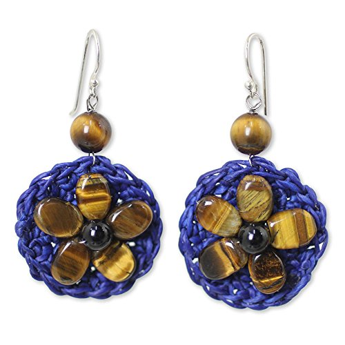 Tigers Eye White Earrings - NOVICA Multi-Gem Tiger's Eye .925 Sterling Silver Beaded Earrings 'Brown Daisy'