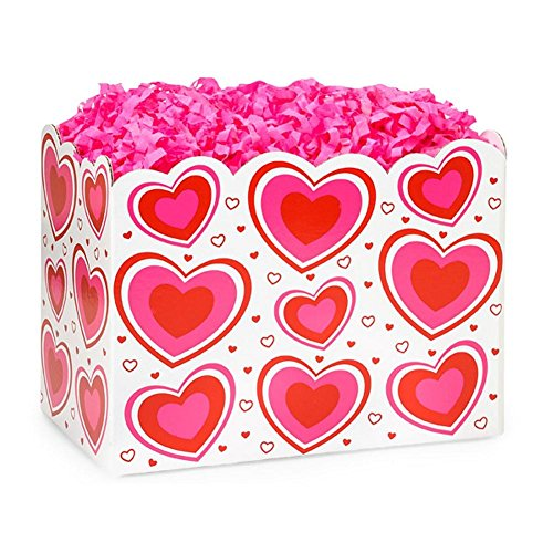 Large Flirty Hearts Basket Boxes - 10 1/4 x 6 x 7 1/2in. - 72 Pack by NW