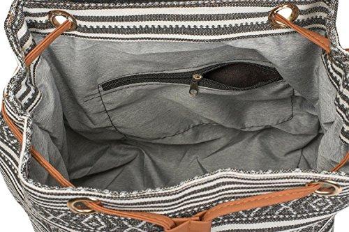 02012246 Colore Ricami Fantasia Zainetto bianco Stile Sulla Con nero Borsa Nappe E Da Patta Stylebreaker bianco Etnico Donna Perle Nero f6Fqw61