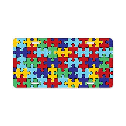 (CafePress - Autism Awareness Puzzle Pie Aluminum License Plate - Aluminum License Plate, Front License Plate, Vanity Tag)