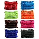 16-in-1 12PCS/8PCS/6PCS Multifunctional Headwear yoga Sports Stretchable Casual Headband Seamless Uv Solid Moisture Neckwarmer Headwrap Mask Bandana Scarf (8PCS-DHS rains)