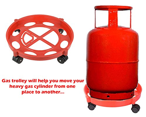 Deodap Gas Cylinder Trolley with Wheels – LPG Cylinder Stand(Assorted Color)