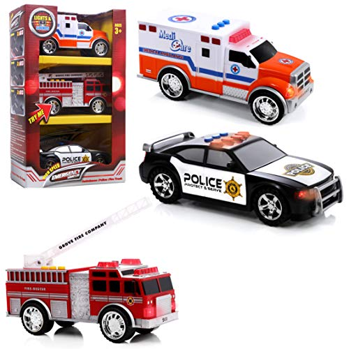 Police Fire Truck - Top Right Toys Emergency Vehicles - Ambulance, Fire Truck and Police car, 3 pc Set with Lights and Sirens