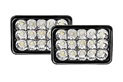 Bearclaw bc2pc4x6BLK LED Headlight Bulb, Sealed Beam Replace, Rectangular, Black