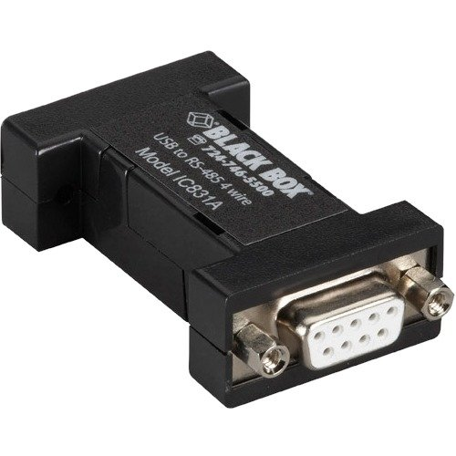 Black Box USB 2.0 to RS485 4-Wire Converter, DB9, 1-Port by Black