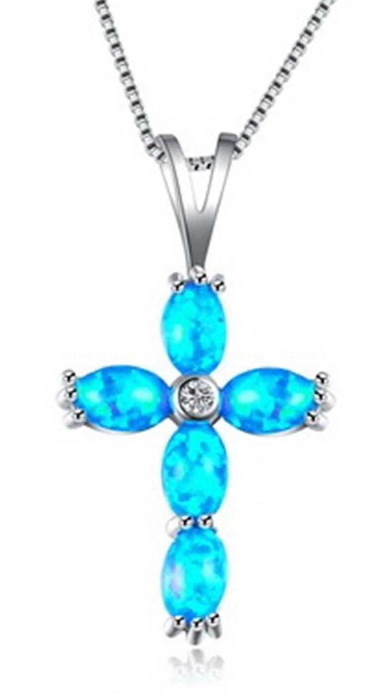 Fortonatori Created Blue Opal Necklace Cross Believe in 925 Silver Pendant Necklace 18'' Chain