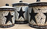 Primitive Crackled Black Star Pip Berry Vine Italian Stoneware Canister Set