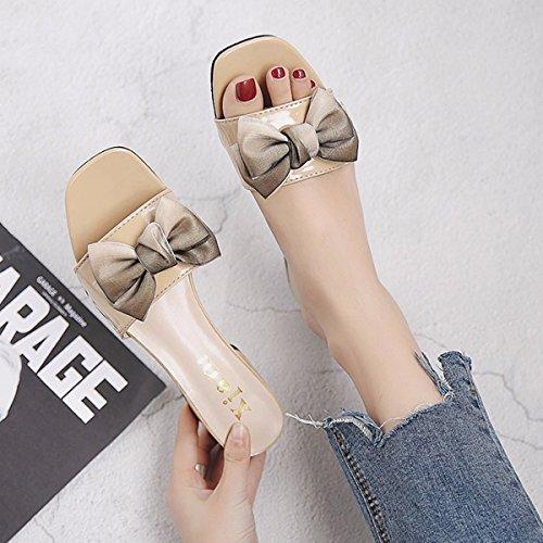 Sandalen Aprikosen Glitschig Paar Und 35 Sandalen Schuh Und QPSSP Einem Mit Bogen Glatt Farbe Einem Schuhe Ff57wg
