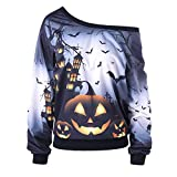 kaifongfu Women Long Sleeve Bat Print Shoulder Sweatshirt for Halloween Party (Gray,M)