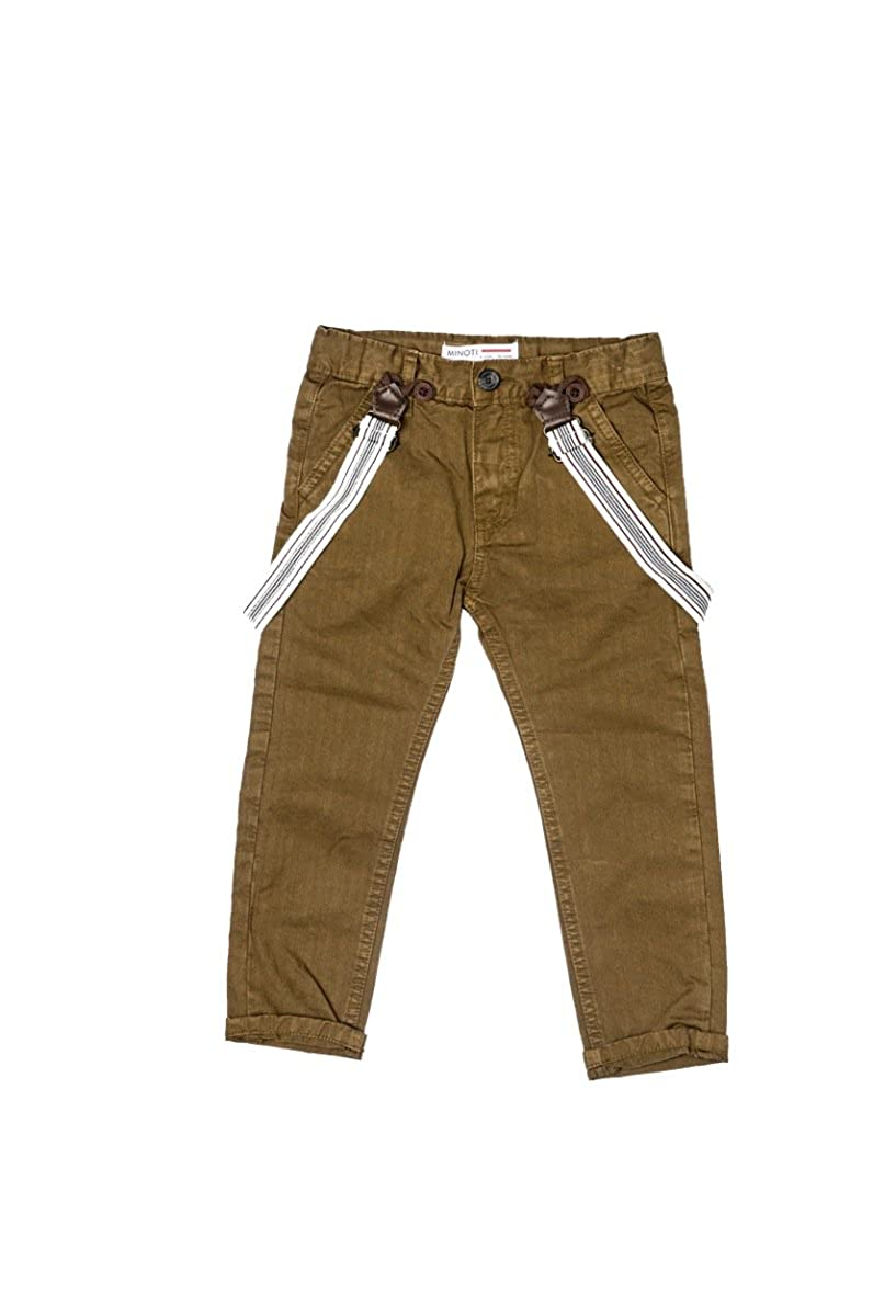 Minoti Boys Braced Chino Trousers Brown