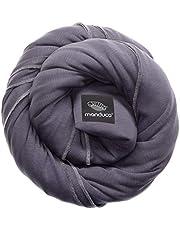 Manduca sling elastische Babydraagdoek met GOTS certificaat 100% biologisch katoen 3 bind-instructies effen - effen 5,10m x 0,60m, grijs