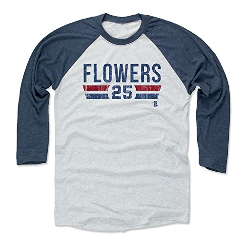 500 LEVEL Tyler Flowers Baseball Tee Shirt X-Small Indigo/Ash - Atlanta Baseball Raglan Shirt - Tyler Flowers Atlanta Font B (Flowers Tyler)