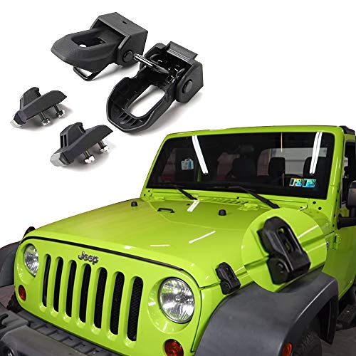 Jeep Hood Latch For 2007-2018 Jeep Wrangler Jk JL Black Stainless Steel Catch Kit Accessories To 2018 Jeep - Hood Kit Steel Stainless