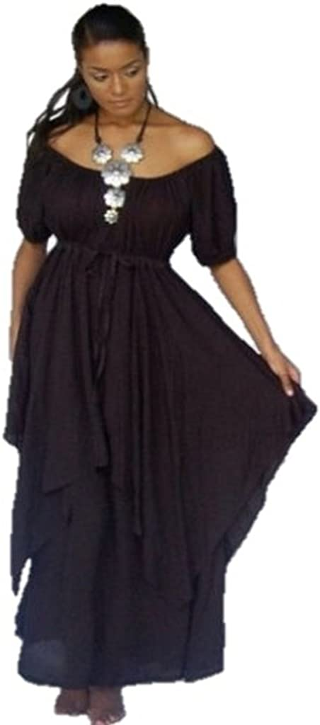 Peasant Renaissance Maxi Dress Short Sleeve Rayon Crinkle LotusTraders U25700