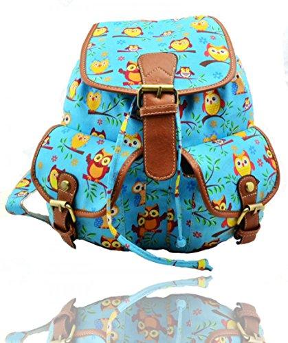 Craze London - Bolso mochila  de Lona para mujer Double Owl-Sky Blue